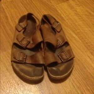 Birkenstocks sandals brown leather used condition
